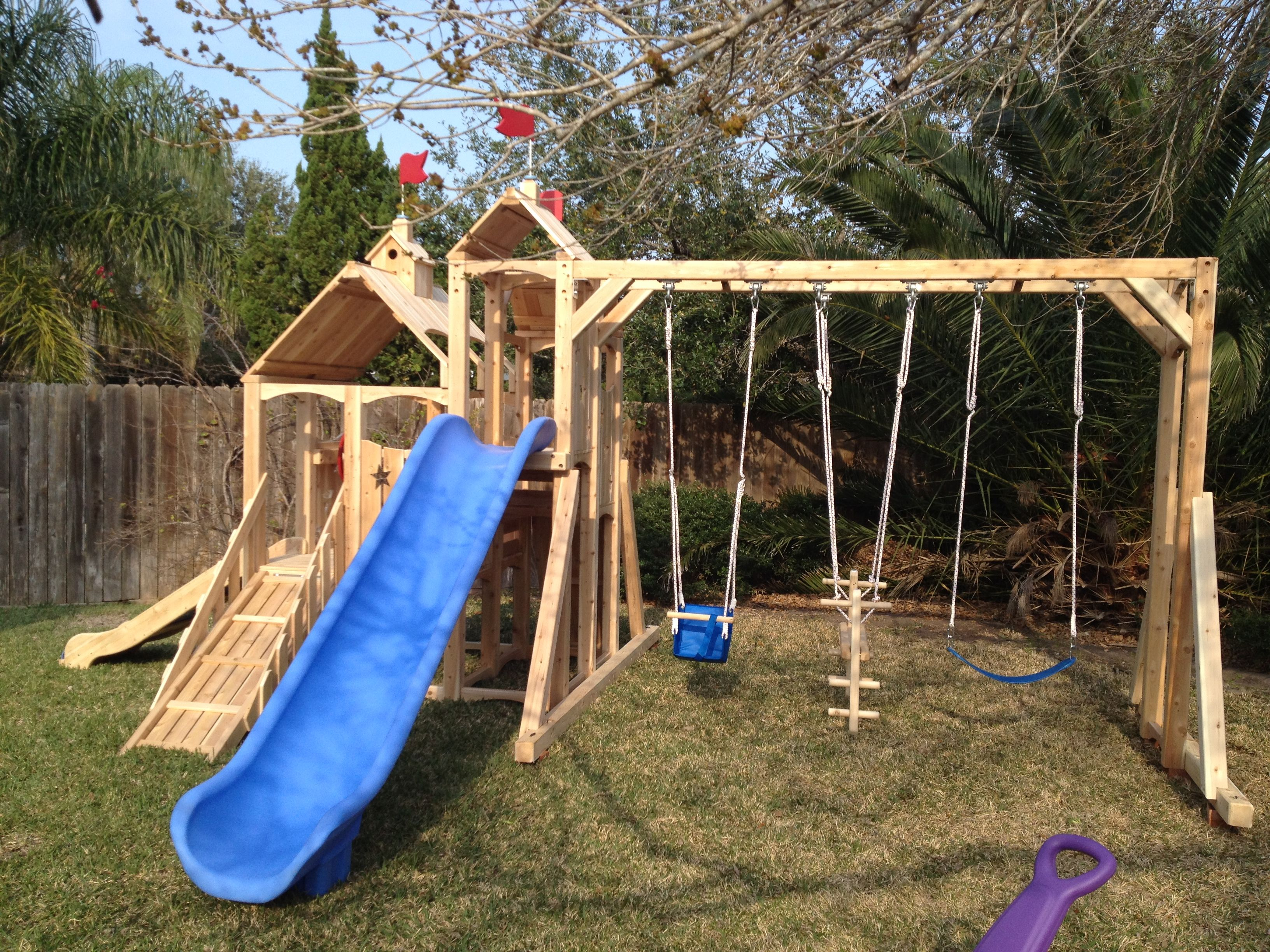 cedarworks playset installed in corpus christi cedarworks