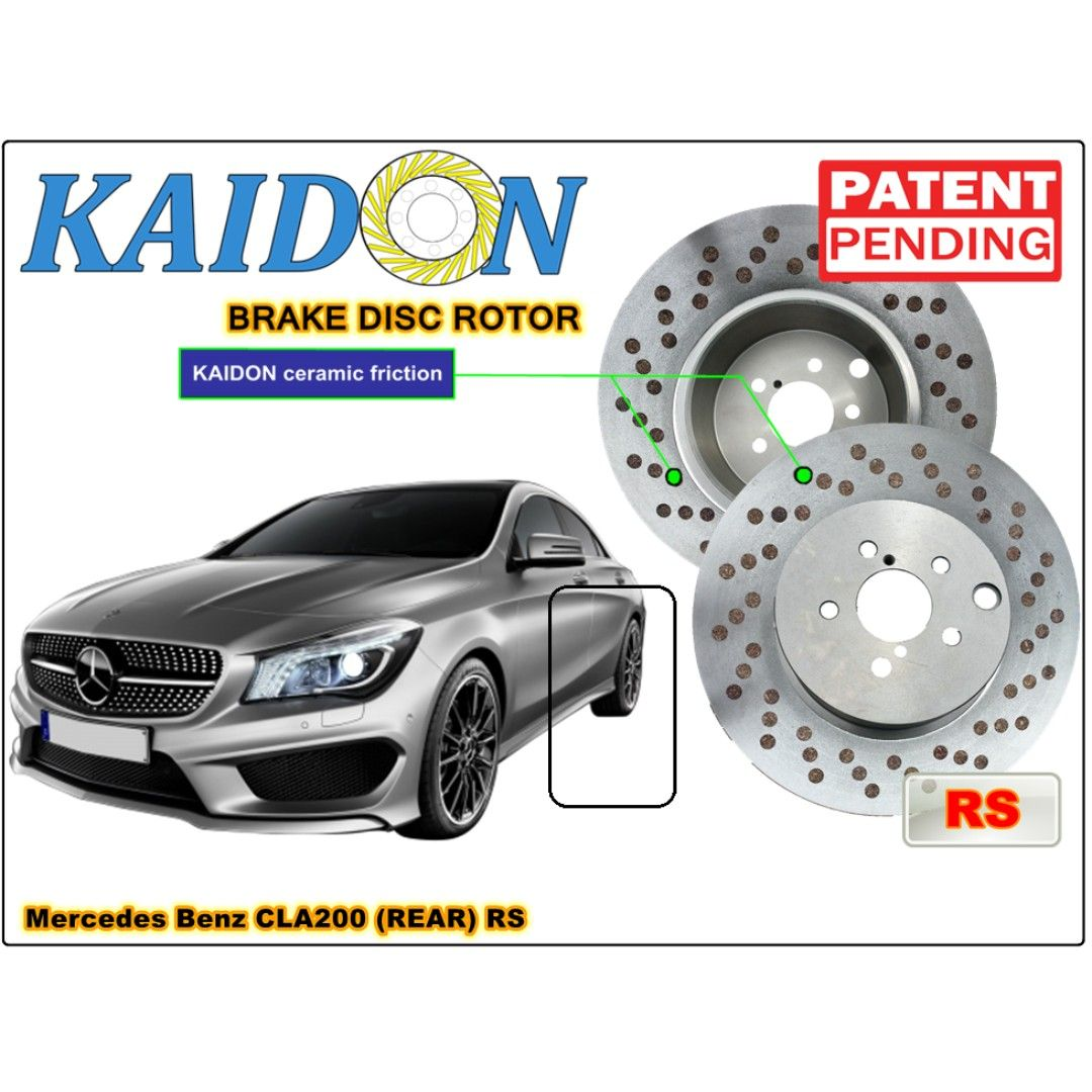 "--2pcs (REAR) KAIDON BRAKE DISC ROTOR for Mercedes Benz CLA200 type ""BS"" / ""RS"" spec--Only suitable original size--Sealed"