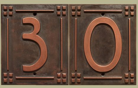 Nice Craftsman Cast Copper Brass Relief House Number Address Tile House Numbers Craftsman Decor Copper House