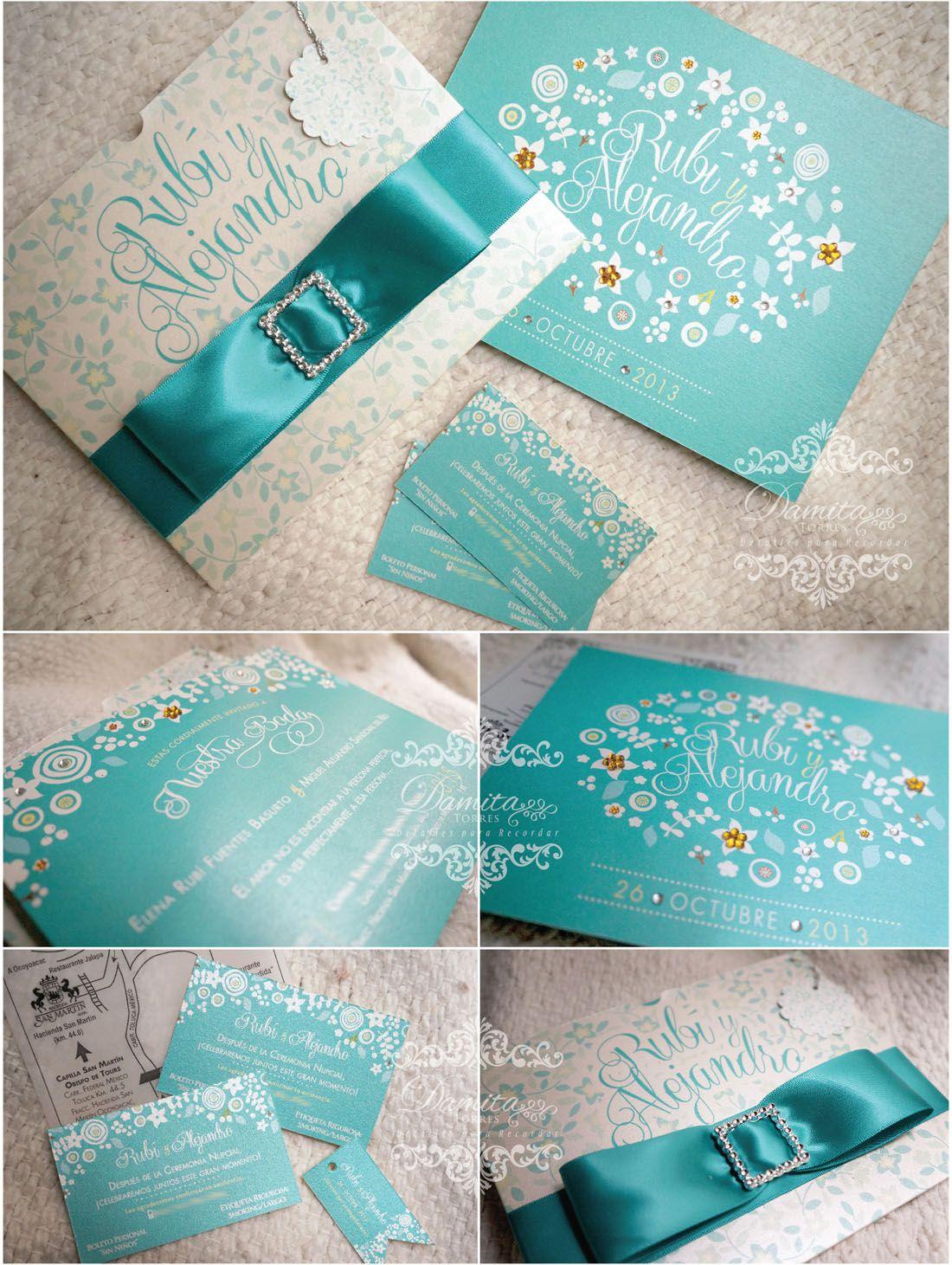 Invitacion Boda Verde Turquesa Hermosas Hacemos Diseños
