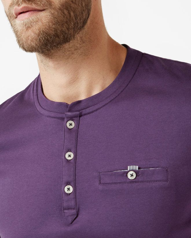 f71fac1a4 Henley neck T-shirt - Purple