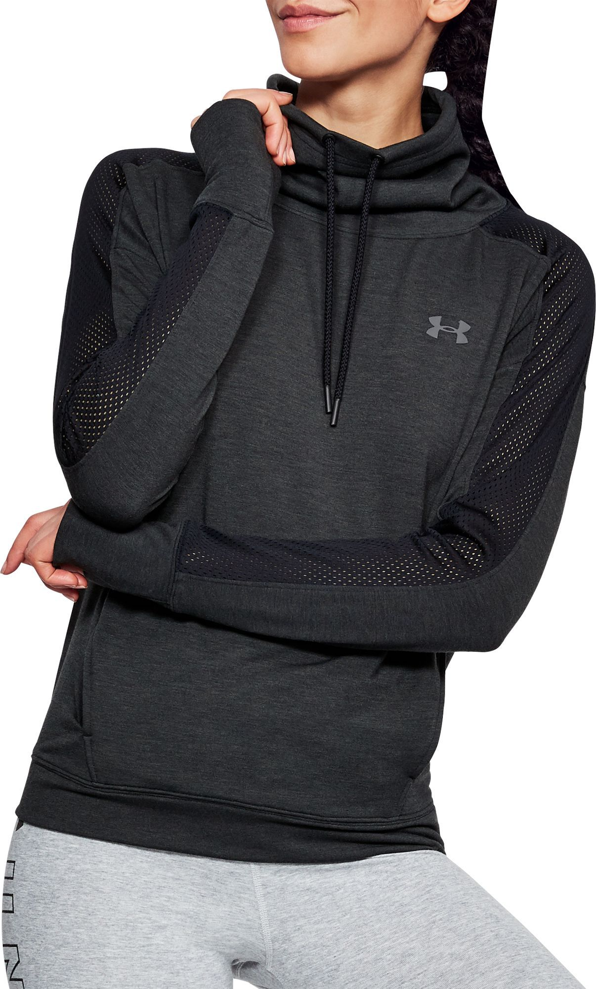 0feec6438e77 Under Armour Women s Featherweight Fleece Mesh Funnel Neck Sweatshirt