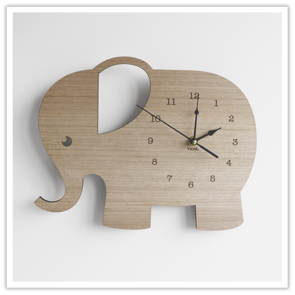 Elephant Wall Clock Wood Children S Room Baby