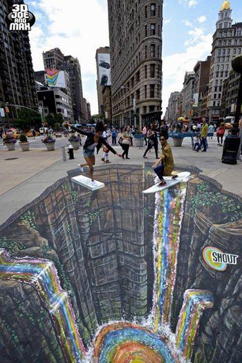 Shout In New York Usa By 3d Joe And Max Street Art Illusions Pavement Art 3d Street Art