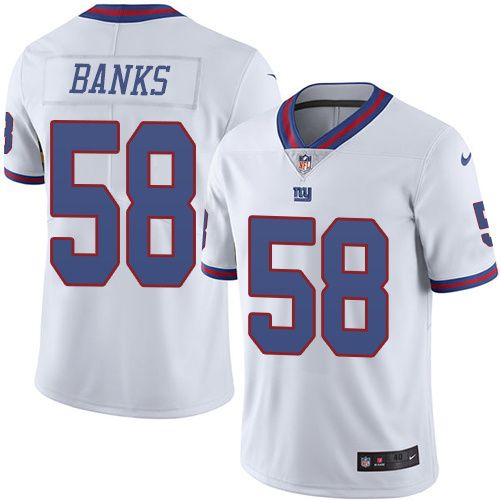 Nike New York Giants #58 Carl Banks Limited White Rush NFL Jersey