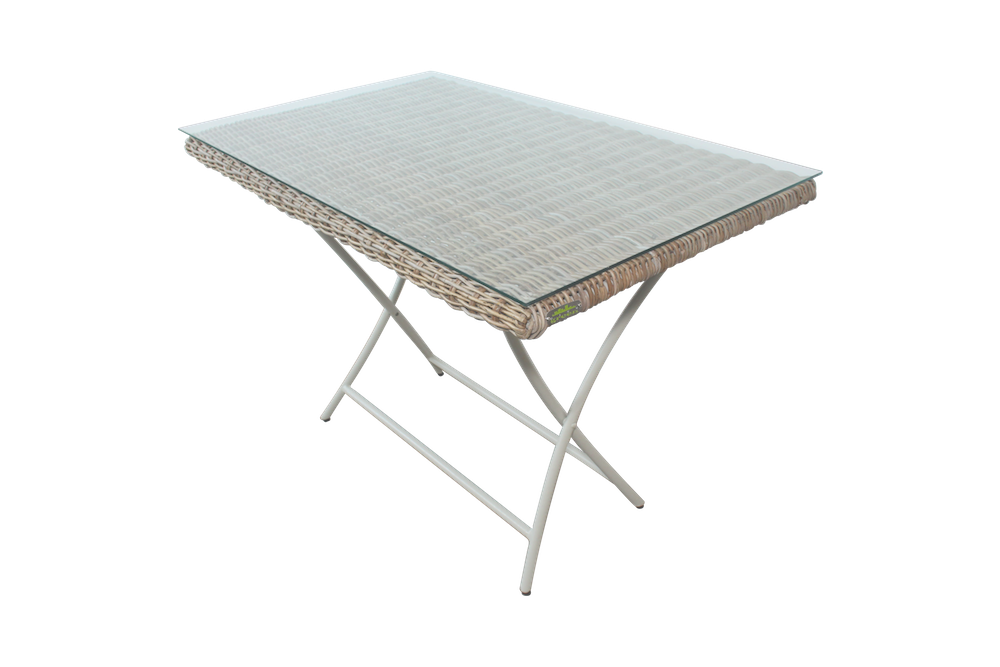 Table pliante en acier recyclé, laque argile douce et Kubu tréssé ...