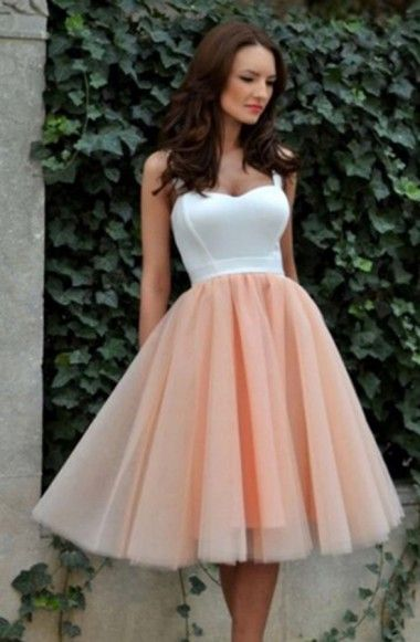 Simple Square Knee-Length A-line Tulle Champagne Homecoming Dress ... 5383aee57