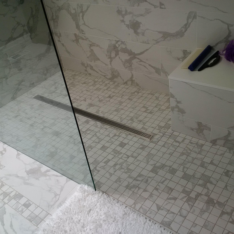 Custom Shower Enclosure, Linear Drain, Custom Shower Seat with a ...