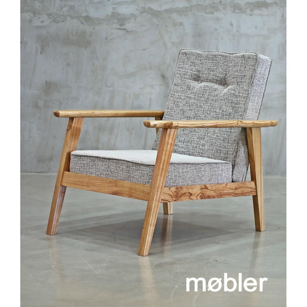 Sill n escandinavo ecocuero madera eucalipto mobler for Sillones estilo escandinavo