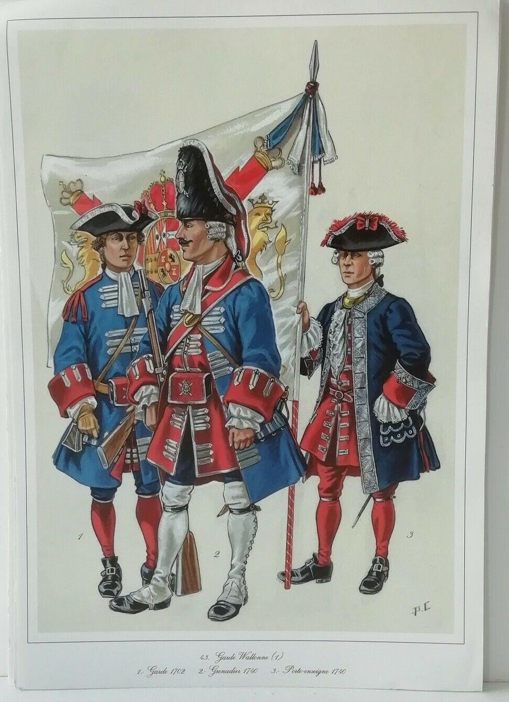 Garde Wallonne Garde 1702 Grenadier 1740 Porte Enseigne 1740