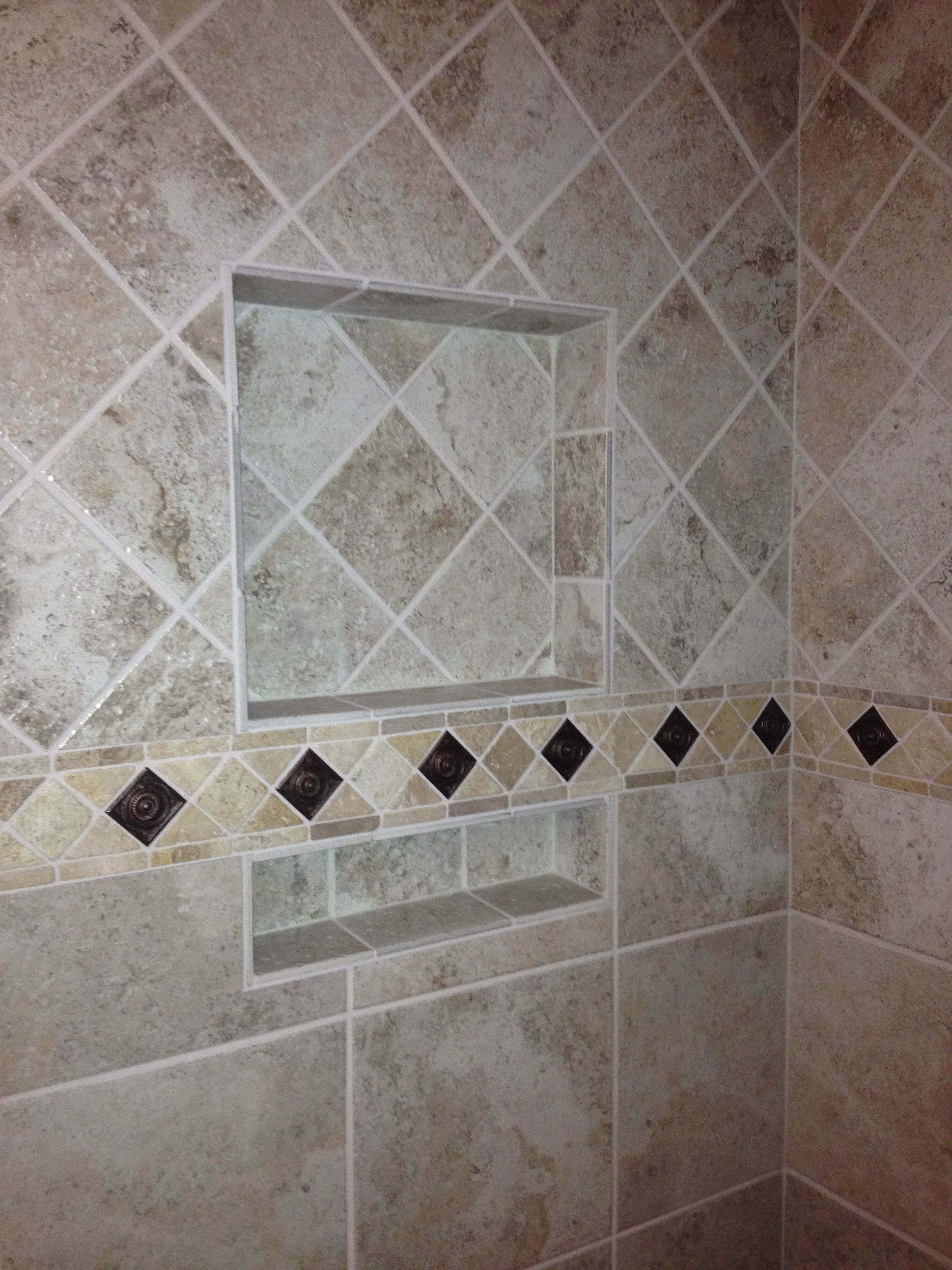 Tile pattern change upper tile diamond pattern lower Tiles arrangement for bathroom