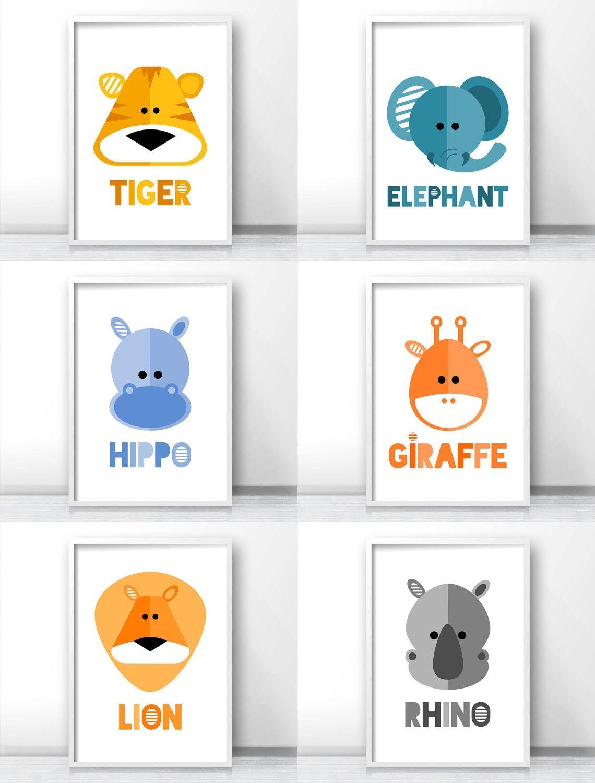 Safari Nursery Decor Jungle Art Prints Modern Kids Wall Tiger Elephant Hippo Giraffe Lion Rhino By