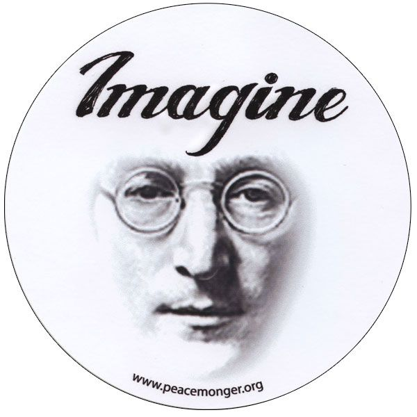 Imagine john lennon portrait beatles large round bumper sticker