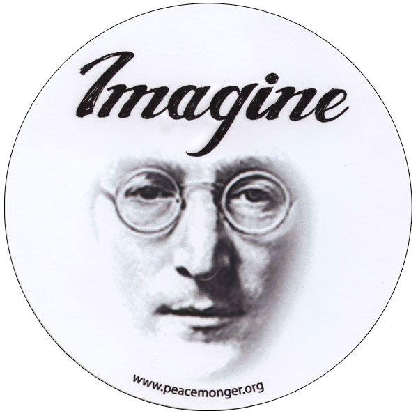 Imagine john lennon portrait beatles large round bumper sticker