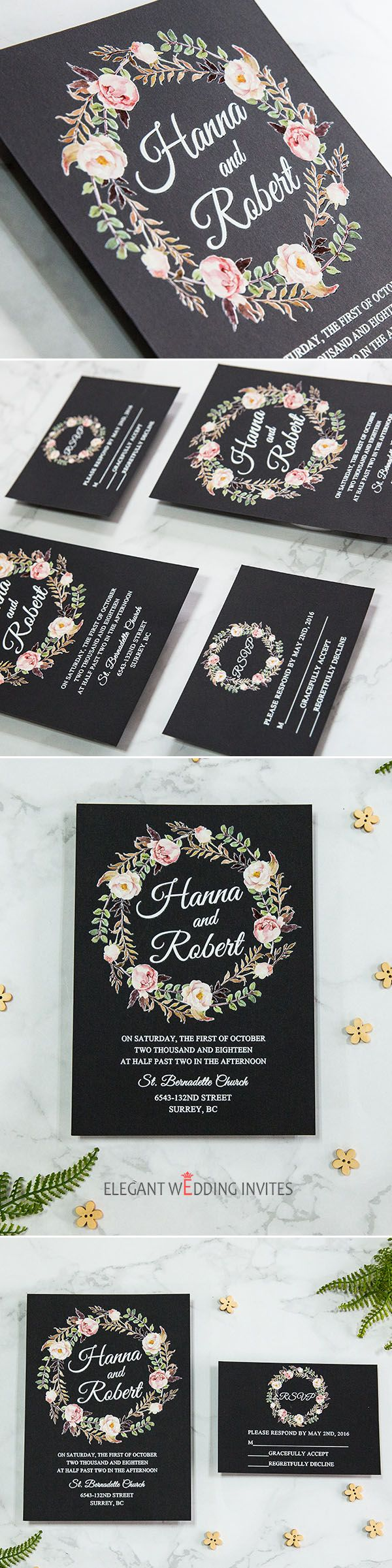 stunning rustic floral wreath UV printing wedding invitations ...