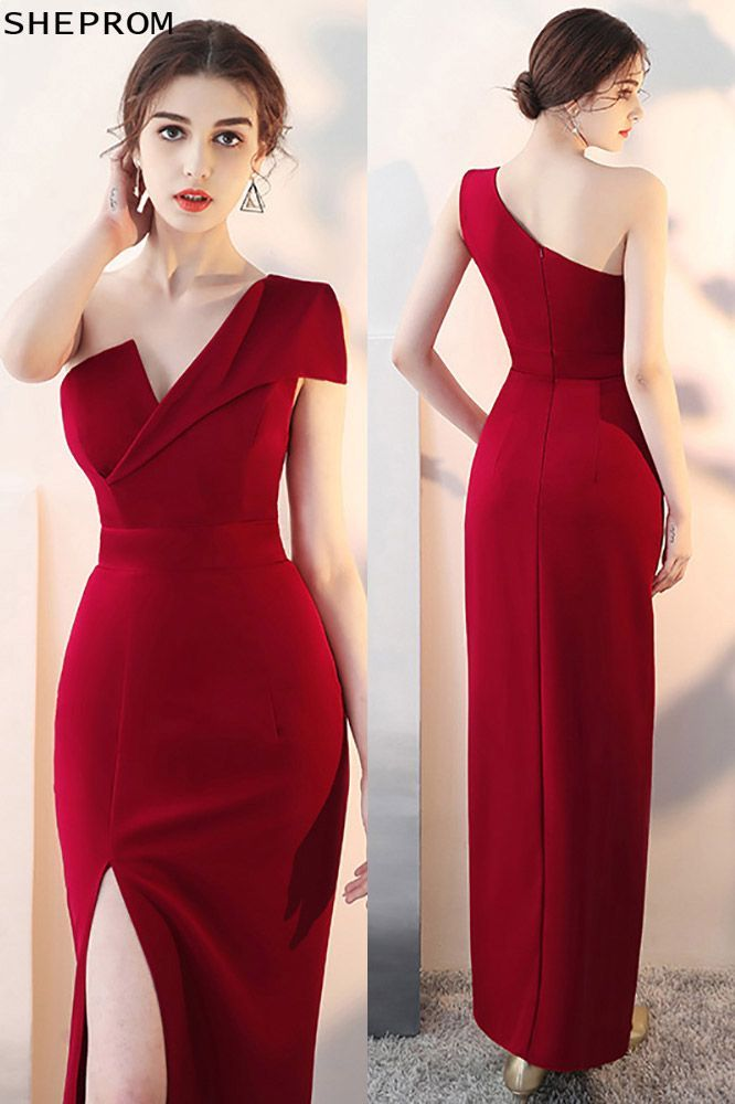 fceff0668fc Sexy Slit Burgundy Fitted Prom Dress with One Shoulder  HTX86001 at  SheProm.  SheProm is an online store with thousands of dresses