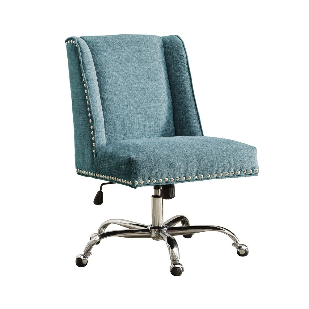turquoise desk chair target salon waiting room chairs draper office aqua blue linon in 2018 products