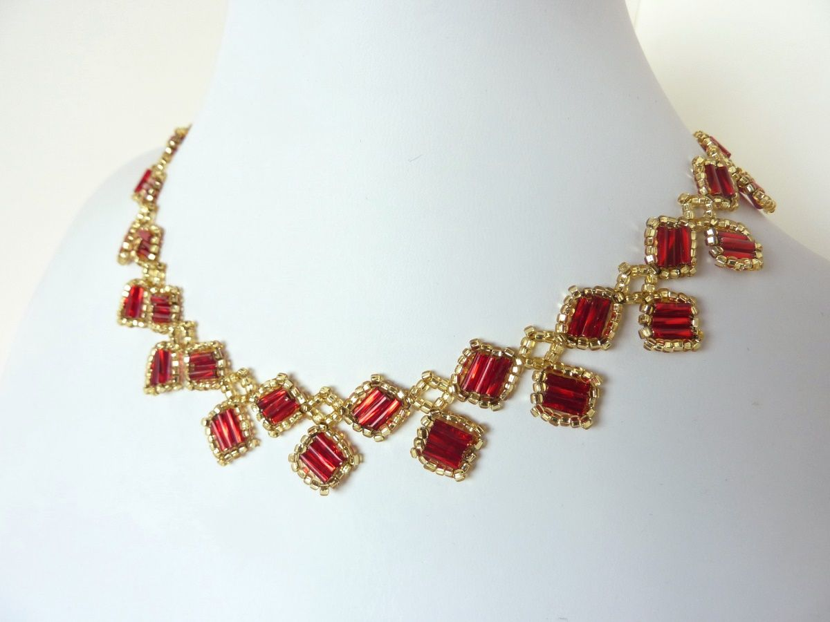 FREE beading pattern Alexia Necklace110 seed beads and Czech 3