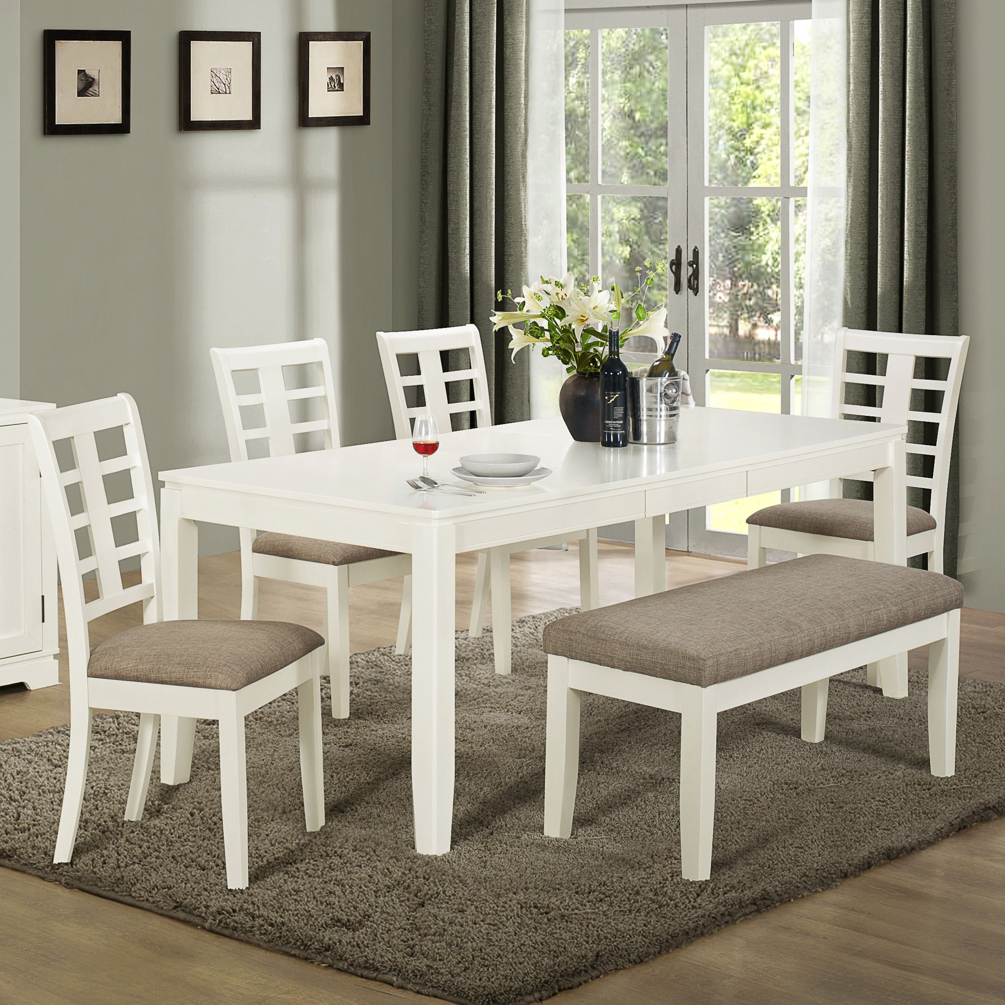 Built With Solid Wood And Mdf Board This White Grey Dining Set Bench Lightens Up The E As You Can See It Works Well A
