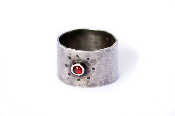 Oxidized Sterling Silver and Garnet Wide Band Textured Ring by Buffalo Lucy
