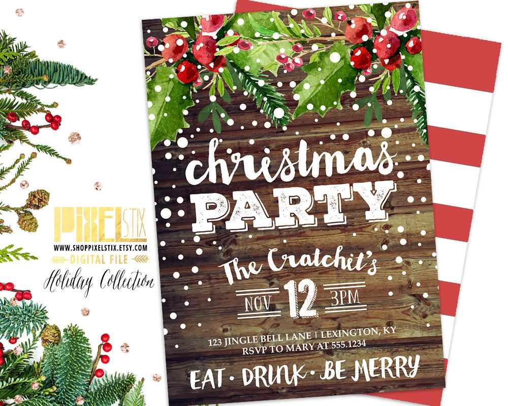 Rustic Christmas Party Invitation, Country Christmas, Barn Wood ...