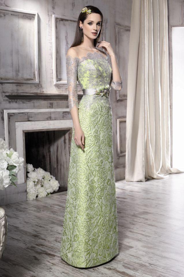 Vestidos largos verde pistacho
