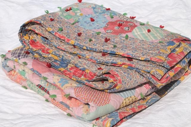 Primitive Quilt Blanket Hand Tied Comforter Pink Shabby Chic Cotton fabric quilt Handmade blanket