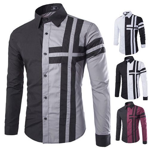 >> Click to Buy << Men Slim Fit Fashion Cross Color Patchwork Casual Long Sleeve Lapel Shirt #Affiliate