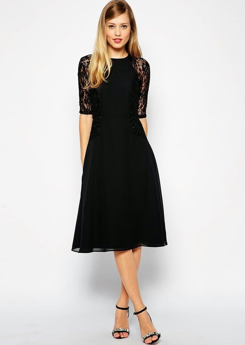 I really like this dress! It is simple yet the sleeves make it interesting.  (Modest black midi below the knee dresses  ac88074d5ca0