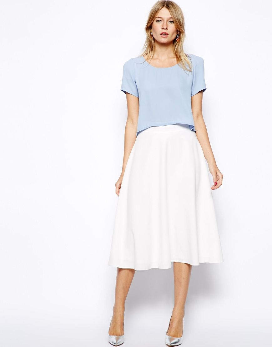 Love Midi Skater Skirt.. Love this look for Spring and Summer