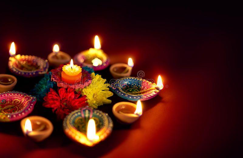 Diwali Oil Lamp Colorful Clay Diya Lamps Lit During Diwali Celebration Ad Colorful Clay Lamp D Diwali Images Diwali Celebration Happy Diwali Images