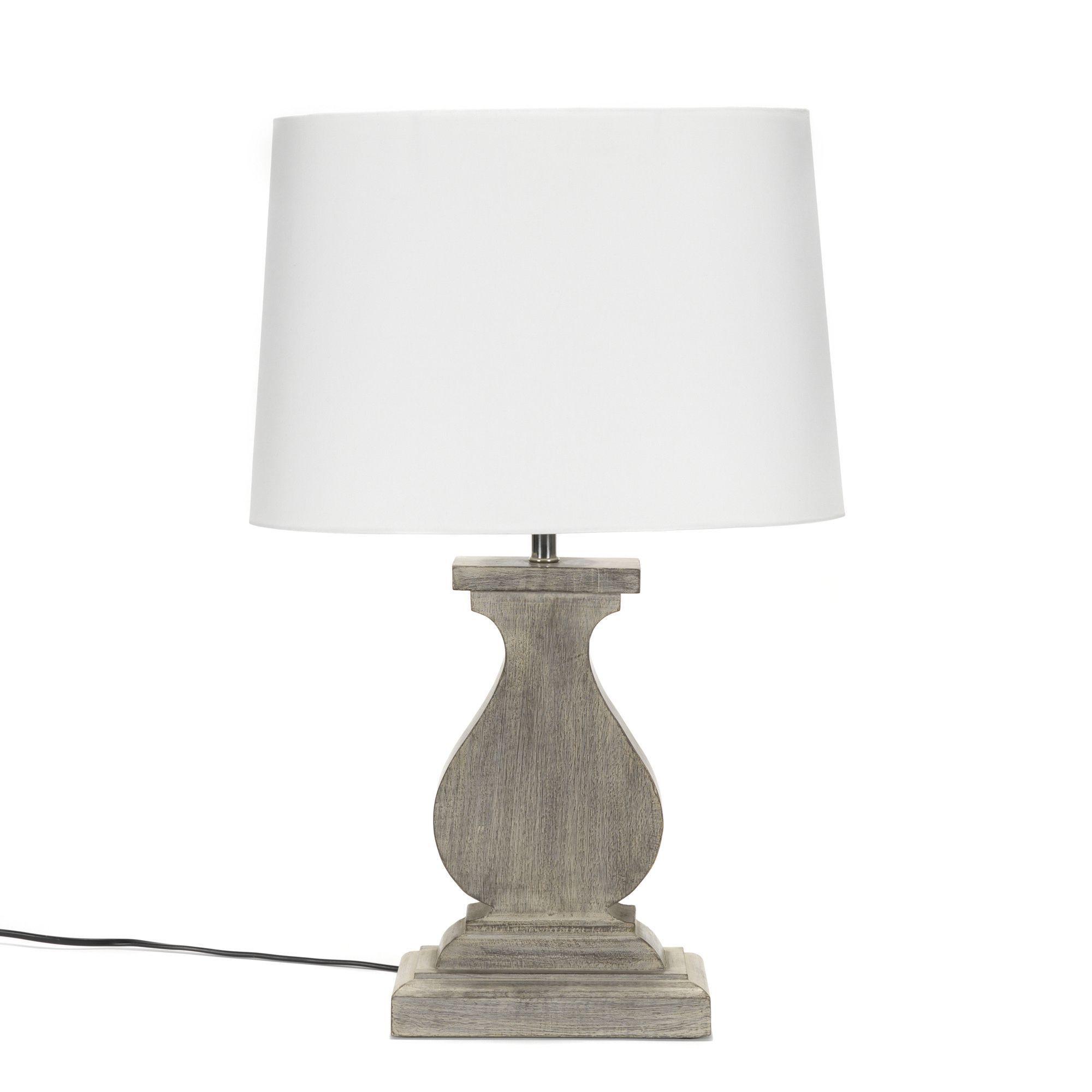 Lampe Avec Pied En Bois Bois Blanchi Noemie Les Lampes Poser  # Table Tv A Roulette Alinea