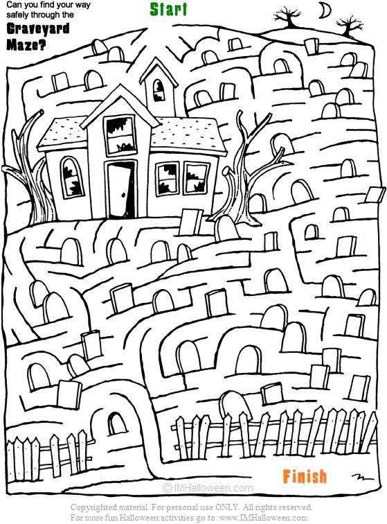 halloween graveyard coloring pages | Spooky Halloween Graveyard Maze ...