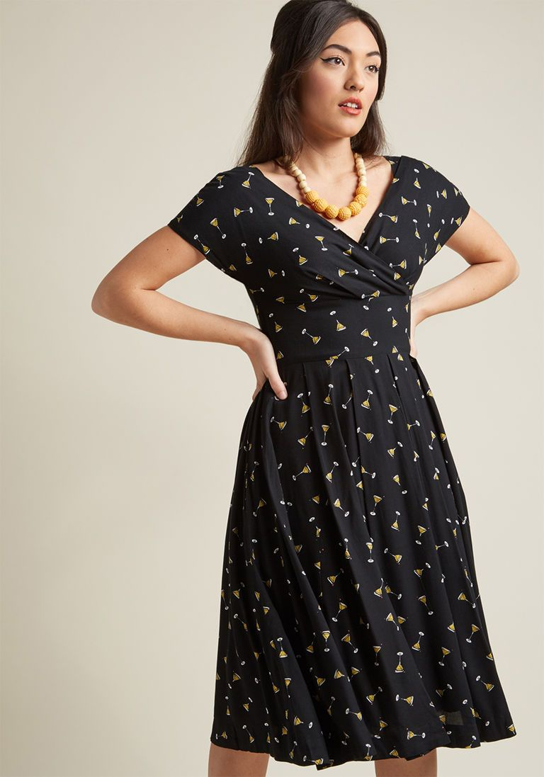 7794818e6d Emily and Fin Pleated Midi Dress in Black Martini in XS - Short Sleeve A- line by Emily and Fin from ModCloth