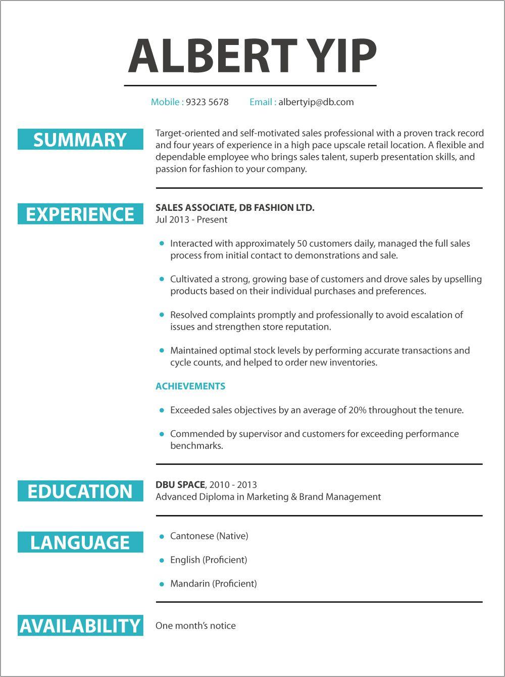 Cv sample jobsdb resume format resume templates new