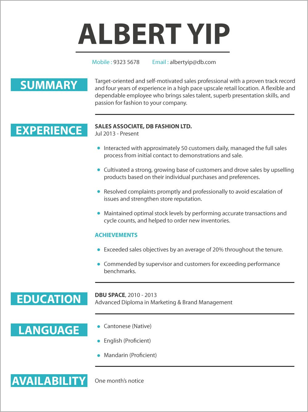 Cv Sample Jobsdb Resume Format Resume Templates Resume Resume Examples
