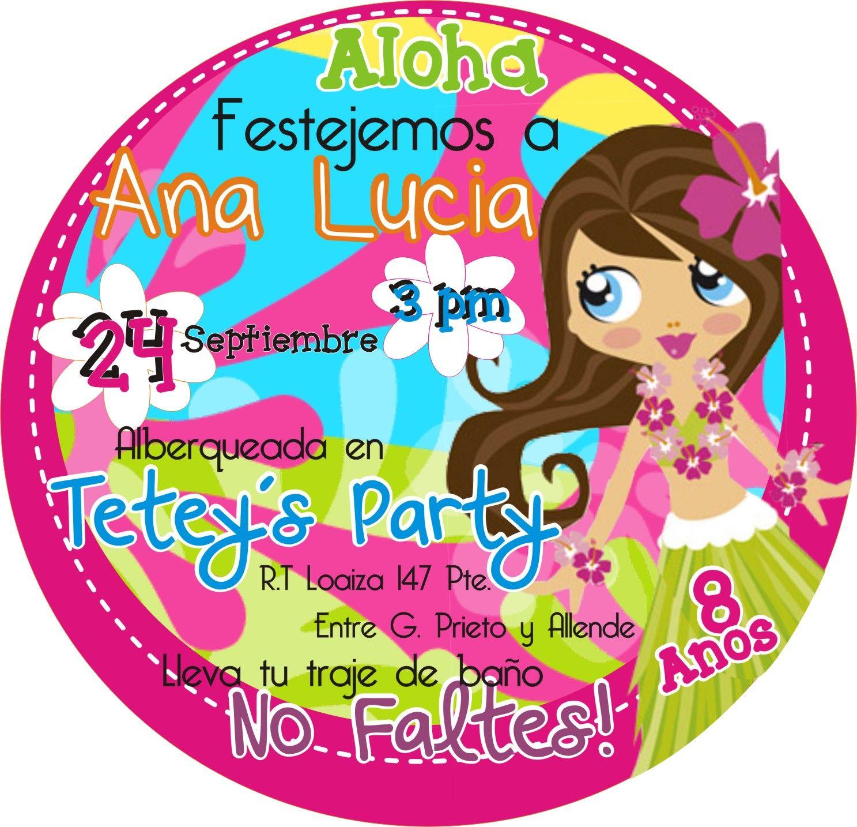 Invitaci n fiesta hawaiana design pinterest luau for Albercas para fiestas