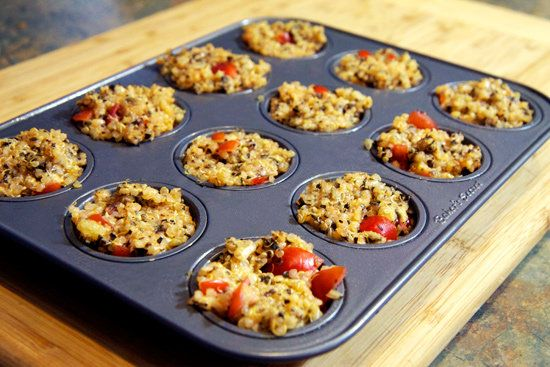 Quinoa Pizza Bites; If you have a love affair with pizza, here's a tasty alternative using quinoa. Only 144 calories in 3! Need to try