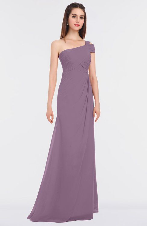 Pastel Lilac Elegant A-line Asymmetric Neckline Zip up Floor Length  Bridesmaid Dresses  91499d939