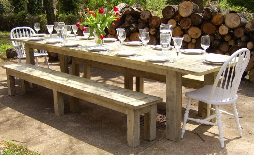 Each Customer Before Buying A Rustic Farmhouse Dining Table With Bench Or Without It Must Take Into C Outdoor Farmhouse Table Backyard Dining Diy Outdoor Table