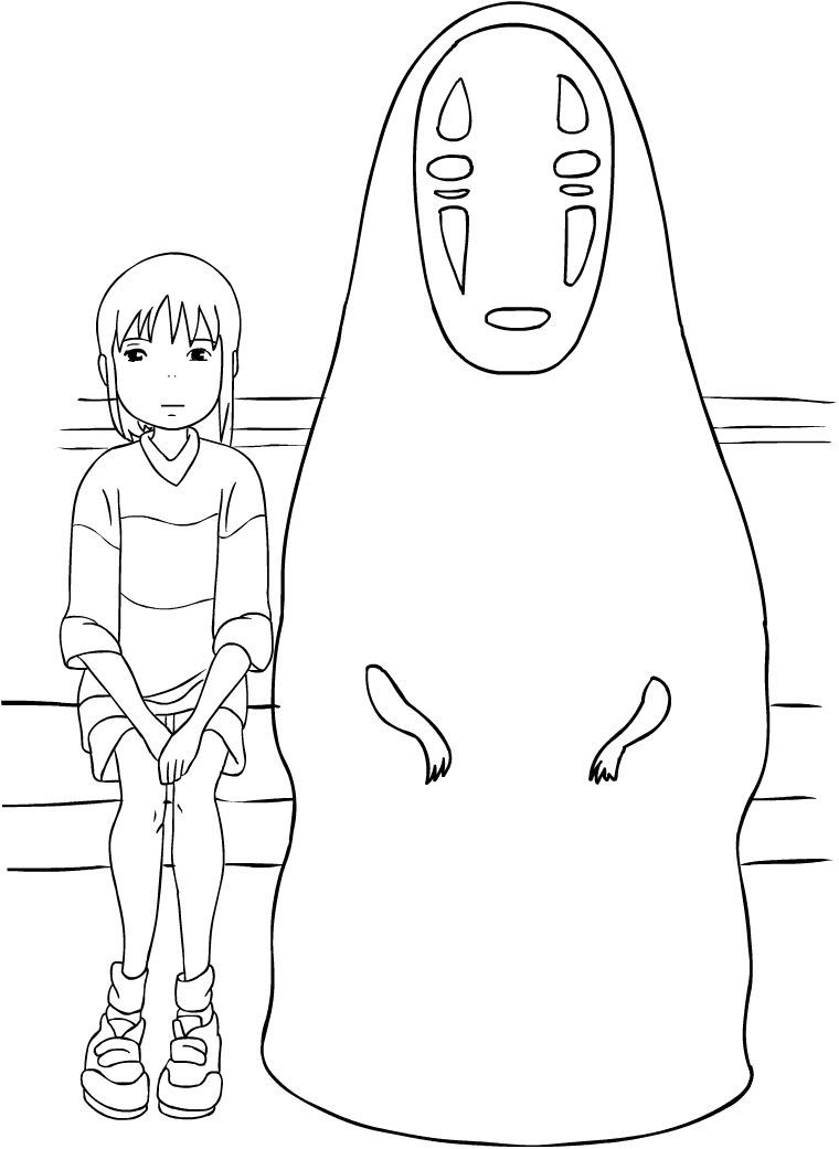 Chihiro And No Face From Spirited Away Coloring Page In 2020 Ghibli Art Studio Ghibli Art Studio Ghibli Characters