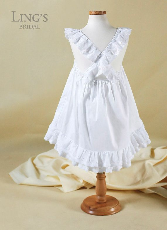 White Lace Cotton Flower Girl Dress Country Cowboy Flower Girl