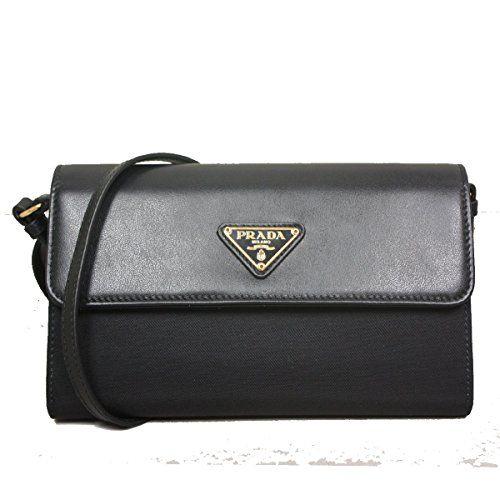 eb62622f31ce Prada Tessuto Nylon Soft Calf Leather Crossbody Shoulder Wallet Bag 1M1437  Nero Black *** For more information, visit image link.
