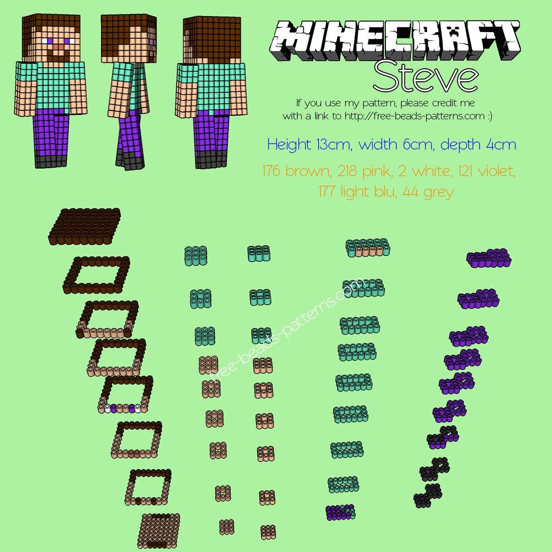 3d Perler Beads Hama Beads Pyssla Minecraft Steve Free