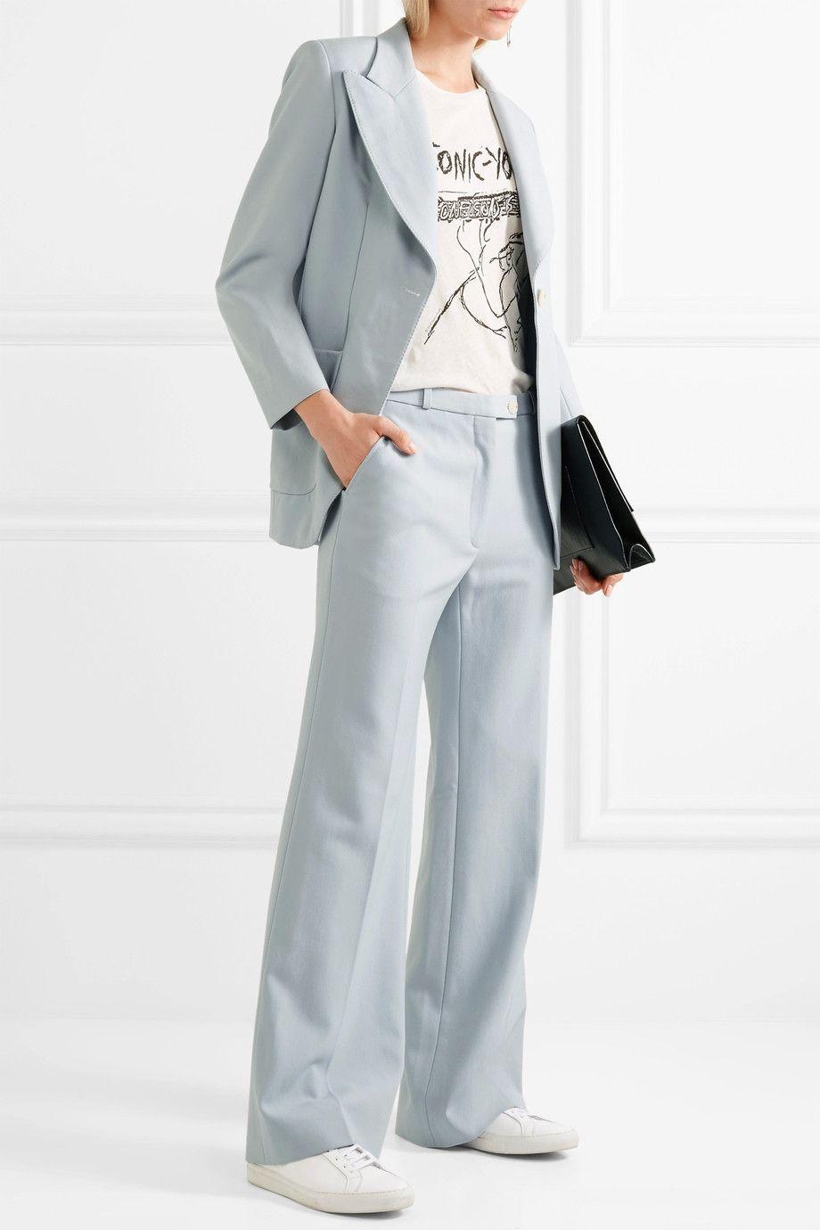 Twill Wide-leg Pants - Sky blue AlexaChung 74ZV4upl