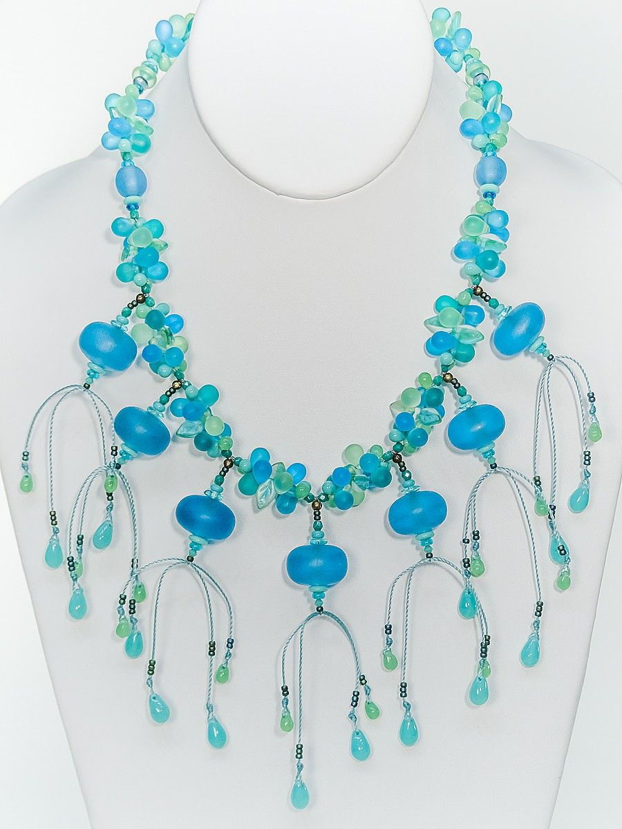 Light Aqua Resin Saucer Necklace - Two Son Jewelry