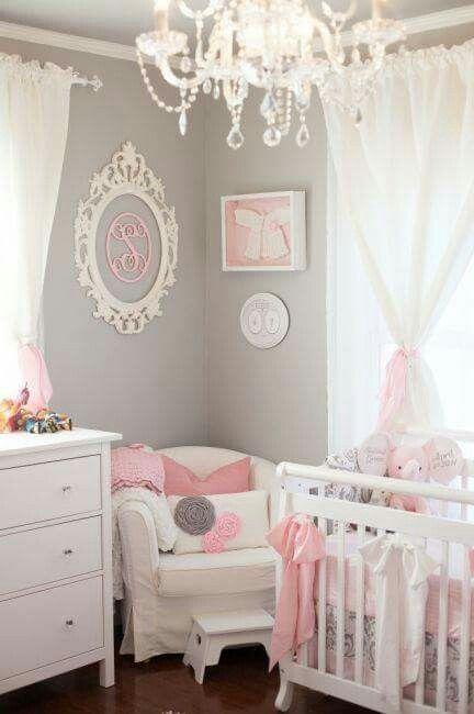 Quarto de menina cinza, branco e rosa chá de fraldas Pinterest