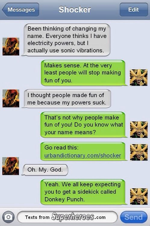 Texts From Super Heroes Shocker Electro Superhero Texts Superhero Texts
