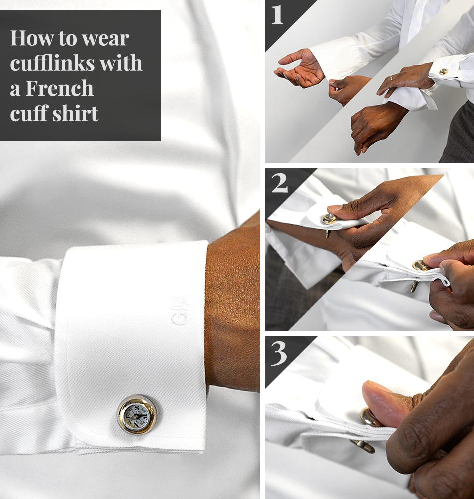 How To Wear Cufflinks French Cuffs Black Lapel French Cuff Shirt Men French Cuff Shirts Cufflinks