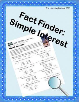 fact finder simple interest worksheet math skills worksheets and math. Black Bedroom Furniture Sets. Home Design Ideas